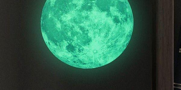 Ve tmě svítící samolepka Real Moon, 30 cm