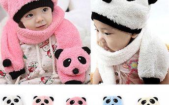 Zimní komplet pro děti s motivem pandy - růžová