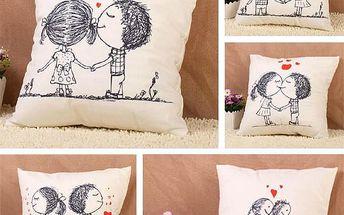 Povlak na polštář se zamilovanými postavičkami