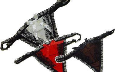 Sada tří dámských tang s krajkou - červené, hnědé a bílé