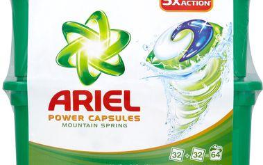 Ariel Ariel Power capsules Mountain spring gelové kapsle na praní prádla 64ks