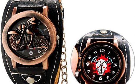 Zavírací hodinky s motivem motorky a řetězem