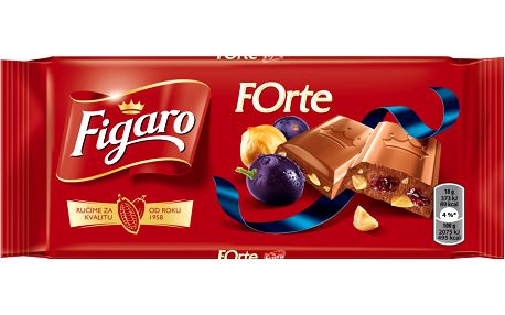 Figaro Forte mléčná čokoláda s rozinkami a drcenými jádry lískových ořechů 90g