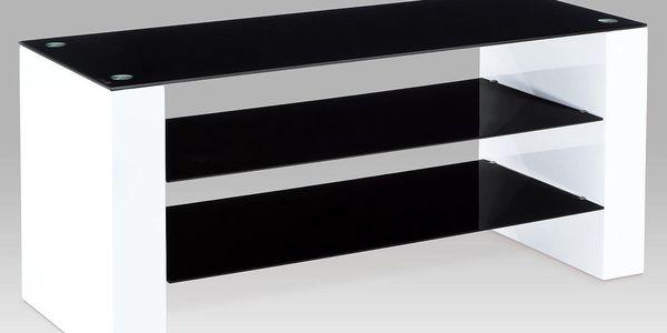 TV stolek, černé sklo, bílá vysoký lesk ALA 05084