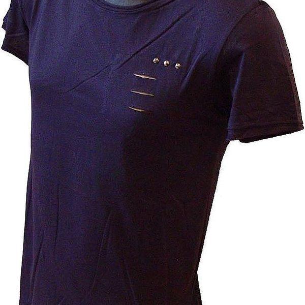 Pánské triko s moderními kovovými aplikacemi - modré, velikost S