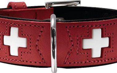 Hunter kožený obojek Swiss červený vel. 70