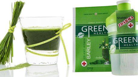 Zelený ječmen Green Health a šejkr