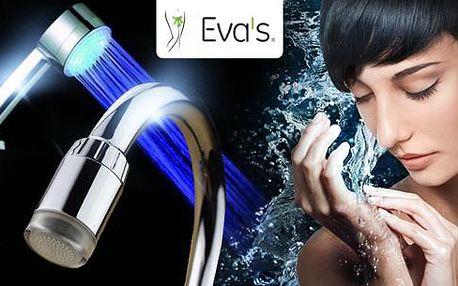 LED nástavec na kohoutek nebo LED hlavice na sprchu. Obsahuje LED diody, které obarví vodu dle její teploty.