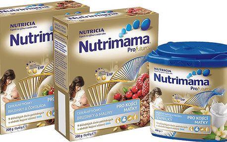 Nutrilon NUTRIMAMA balíček (1x tyčinky-čokoláda, 1x tyčinky-brusinka, 1x vanilkový nápoj)