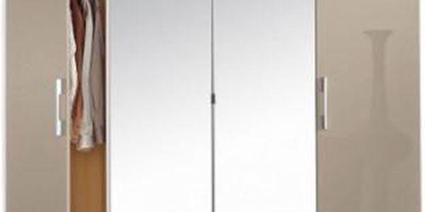 Modena A - Šatní skříň, 2x dveře, 2x zrcadlo, 3x zásuvka