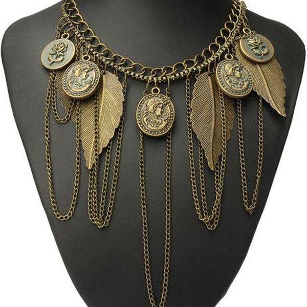 Listy a mince - vintage náhrdelník