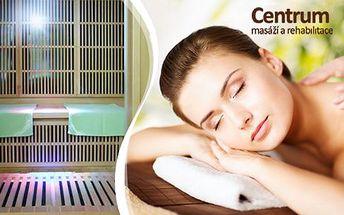Infrasauna na 40 minut pro 1 nebo 2 osoby nebo balíček klasická masáž + sauna na 20 minut! Nápoj zdarma!