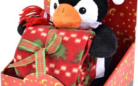 Vánoční deka pro děti s plyšovou hračkou TUČŇÁK Essex 75x100 cm