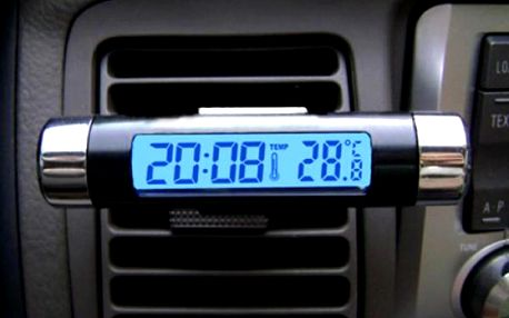 Teploměr do auta s hodinami a klipem pro připevnění