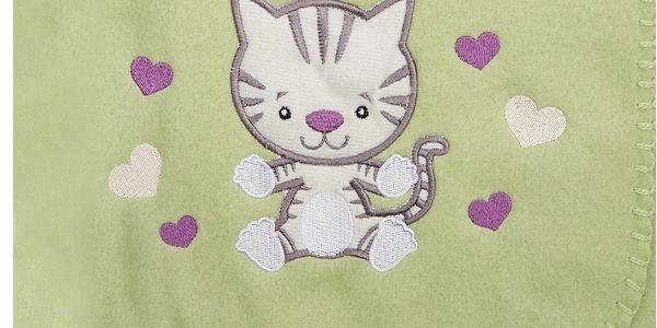 Dětská fleecová deka s aplikací kočičky SWISTAK zelená 75x100 cm