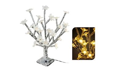 Stromek zasněžený 40cm s 24 LED světélky, žluté světlo