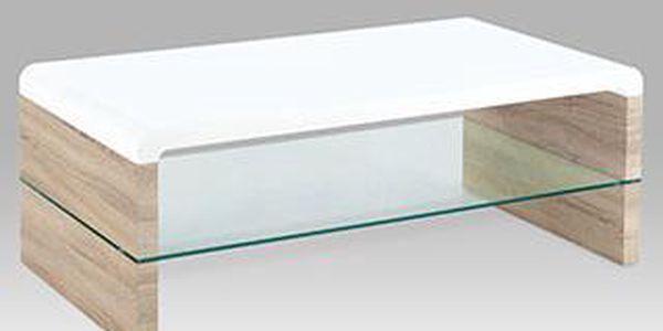 Konferenční stolek vysoký lesk bílý AHG-016 WT