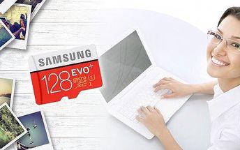 Samsung Micro SD karta s kapacitou 128 GB! Využívejte svůj nejnovější smartphone, tablet či fotoaparát naplno. Rychlost, spolehlivost a odolnost! Vydrží až 72 hodin v mořské vodě, je odolná vůči nízkým či vysokým teplotám, rentgenovému záření i magnetismu