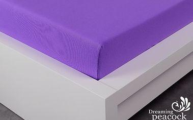 XPOSE ® Jersey prostěradlo dvoulůžko - tmavě fialová 180x200 cm