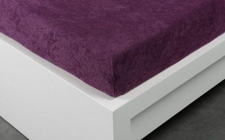 XPOSE ® Froté prostěradlo dvoulůžko - švestková 180x200 cm