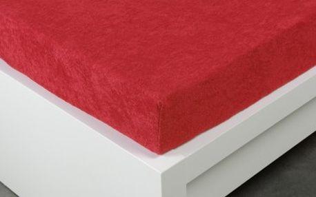 XPOSE ® Froté prostěradlo Exclusive dvoulůžko - tmavě červená 140x200 cm
