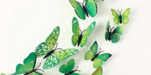 12 kusů 3D samolepek ve tvaru motýlků