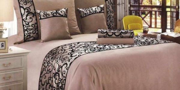 NOVIA Luxusní povlečení se saténem, bavlna, 6 dílné, 140x200 70x90 40x40, Barva Béžová