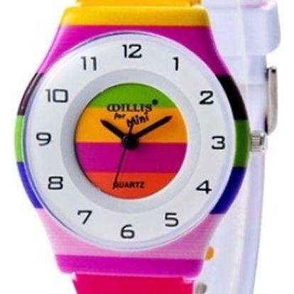 Barevné pruhované dívčí hodinky