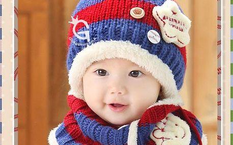 Dětská čepice se šálou