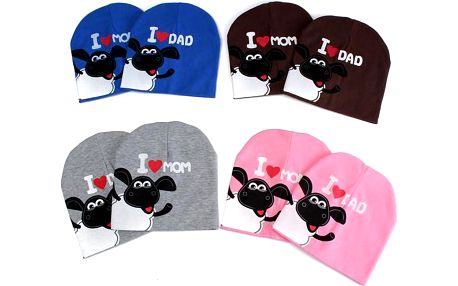 Roztomilá dětská čepice I LOVE DAD/I LOVE MOM