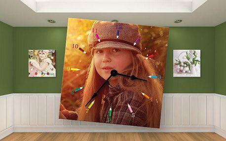 Nástěnné hodiny s vaší fotografií na kvalitní imitaci malířského plátna