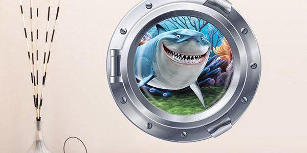 Samolepka na zeď - pohled z ponorky na žraloka
