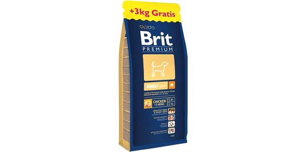 Brit Premium Dog Adult M 15 + 3 kg Zdarma