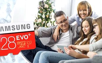 Vysoce odolná paměťová karta Samsung Micro SDXC EVO+ 128 GB včetně poštovného do smartphonu, tabletu i foťáku!