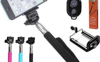 Selfie tyč s bluetooth dálkovým ovládáním - 3 barvy