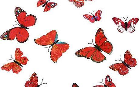 Dekorační motýlci v červené barvě - 12 kusů