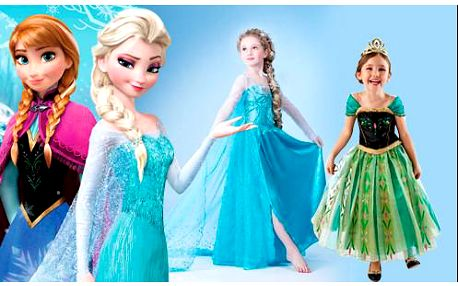 Nádherné dětské šaty pro princezny z pohádky Ledové království od Disney