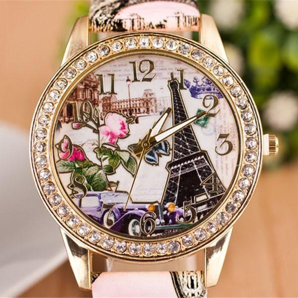 Dámské hodinky s retro obrázkem