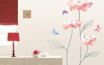 Samolepka Ambiance Light Pink Flowers And Butterflies, 120 x 90 cm