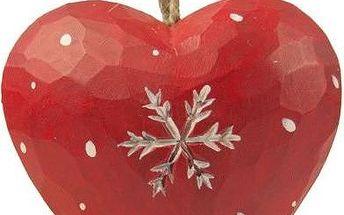 Závěsná dekorace Heart with snowflake in red