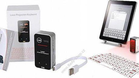 Hi-tech laserová virtuální klávesnice, kterou připojíte přes bluetooth a tlačítka se promítnou na jakýkoli rovný povrch! Nejpokročilejší hi-tech klávesnice pro váš notebook, tablet, počítač a jiné chytré zařízení.