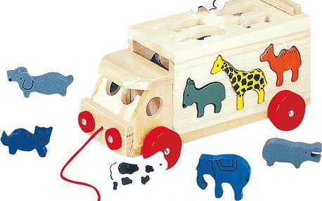 Dřevěné hračky - Skládací kamion se zvířaty Bino 84068