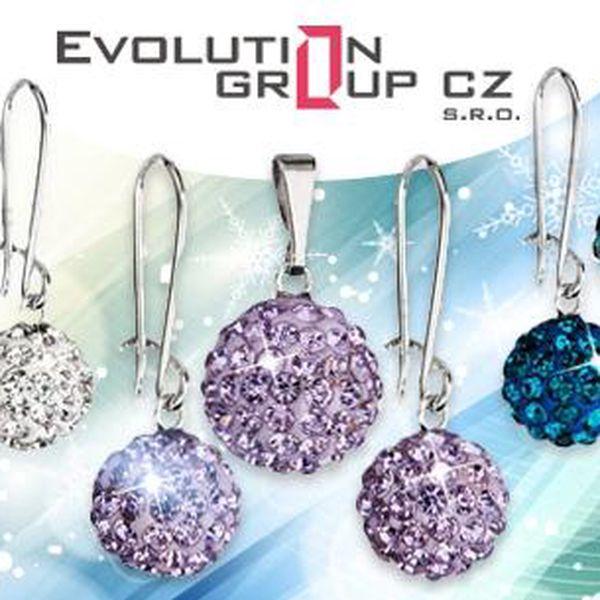 Dámský set šperků s krystaly Swarovski Elements. Náušnice a náhrdelník ve tvaru kuličky osázené krystaly vč. poštovného.