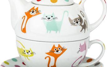 3dílná čajová sada kočky