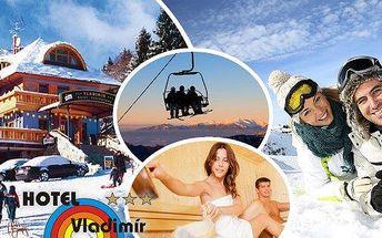 3denní lyžařský pobyt pro dva v Hotelu Vladimír přímo u dolní stanice kabinové lanovky. V ceně polopenze, skipas do SkiResortu Černá Hora- Pec(5 ski areálů), platí i na novou sjezdovku Hofmanky - nejrychlejší vyhřívaná lanovka v ČR, džbánek vína a infra