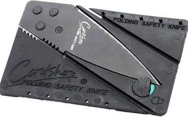 Skládací nůž velikosti karty do peněženky - černý