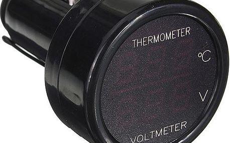 2v1 digitální teploměr a voltmetr do auta