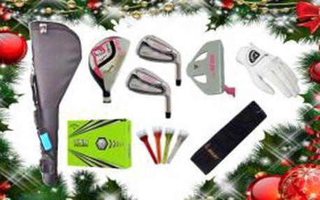 Set obsahuje vše co bude začínající golfistka potřebovat: bytelný pencil bag, set čtyř holí, rukavici, golfový ručník, dárkové balení 12ks míčů a balení 25ks luxusních týček s korunkou.