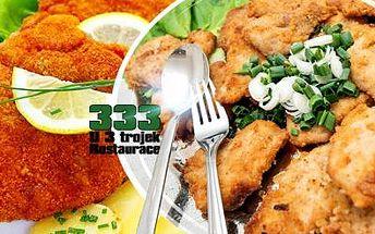 Šťavnaté řízky - 800g mix kuřecí + vepřové včetně 300g přílohy dle výběru U 3 trojek na Žižkově!