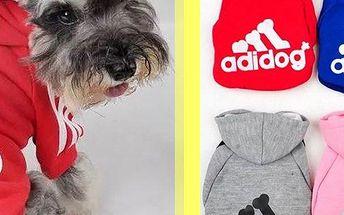 Sportovní mikina Adidog s kapucí a hřejivým vnitřkem, ochrání Vašeho miláčka před chladným počasím.
